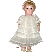 "Scarce 14"" Gertrude Rollinson Painted Cloth Doll Bobbed Blond Hair Wig Big Brown Eyes 1916-1917 Logo Stamped Back"