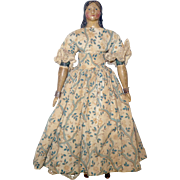 9 Inch 1840-50's Papier-mache Milliner Long Curls Brush Strokes Leather Body Wood Limbs Red Slippers Printed Blue Paper Bands Wrists Knees and Plate