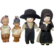 PR 3.5 Inch All Bisque Amish Dolls Shoulder Jointed Cloth Costumes and PR 3 Inch Japan NA Indian Nodders
