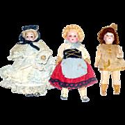 "3 Little 5"" Bisque Head Dolls 5 PC Flapper Bodies Original Wigs for Restoration or Parts"