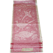 3 Never Used 1930's Irish Linen Damask Towels 31 Inces by 22 Inches Sparkling Rose Toned Pheasant Pattern 2 Have Original Labels 3 Have Price Tags