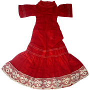 19th Century Hand & Treadle Stitched Turkey Red Linen Dress for Small Slim China or Papier-mache Doll