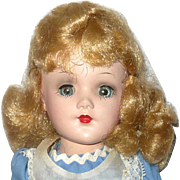 14 Inch HP Marked Mary Hoyer Reading Tag Alice Blue Dress w Pinafore Nice Face Blue SE Gray Eye Shadow