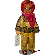 Fine 14 Inch Molly-'es Cloth Tagged Giafar 1940's Thief of Baghdad Villain Character Doll