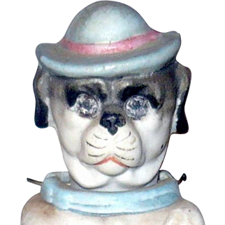 5 Inch 19th Century Hollow Bisque Begging Bobble Nodding Head Pug Dog