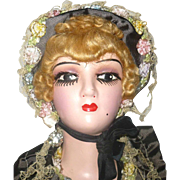 Over the Top 26 Inch 1930's American Composition Boudoir Doll Original Clothes Marceled Wig Long Lashes Chin Mole Bling