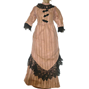 Vintage Lace Trimmed Fashionable Dress for China Papier-mache or Parian Lady Doll