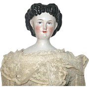 17.5 Inch 1860's China Elaborate Hair Do Brush Stroke Exposed Ears Linen Body Ivory Dotted Swiss & Lace Costume