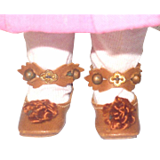 Wonderful Copper Leather Size 1 Key Stone 1 and 7/8 Inch Doll Shoes Original Fancy Ankle Straps Buttons Ornaments