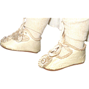 Scarce French Size 1 Ivory Leather Pannier Doll Shoes Original Silk Toe Ornaments