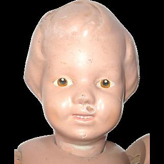 14/101 Post 1917 Schoenhut Carved Hair Girl Pale Original Face Paint Brown Eyes Dings No Repaint