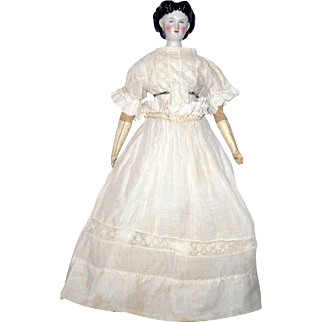 19th Century Hand Stitched White Lawn Dress Insertion Feather Stitching with Linen Petticoat for China Doll