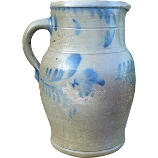 19th Century 11 Inch Cobalt Decorated Pennsylvania Stoneware Pitcher