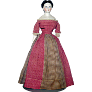 14 Inch 1860 China Lady Elaborate Hair Do Original Linen Body China Limbs Calico and Home Spun Costume