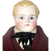 1870's Blond Molded Hair 17 Inch Parian Boy Blue PW Glass Eyes Linen Body Sewn on Red Leather Boots