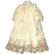 Labeled Vintage Dress Maker Made Ivory Lace Dress with Attached Lawn Slip