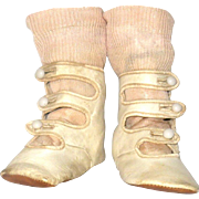 4.5 Inch Victorian Ivory Kid 3 Strap High Button Shoes for Larger Early Rag or Bisque Head Doll
