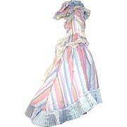 Elaborate 3 Piece Vintage Fashion Costume All Lined with Pleated Hem Train and Matching Hat