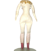 13 Inch 19th Century Commercial Linen Doll Body Red Leather Boots, Red Striped Lower Legs Contoured Buttocks Worn White Kid Lower Arms