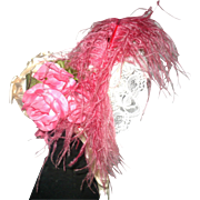 Vintage Labeled Ivory Satin Doll Bonnet with Lace Under Brim Bright Pink Plume and Fabric Roses