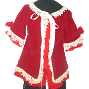 Vintage Hand Stitched Lined Red Velvet Fashion Jacket Back Pleat Pleated and Irish Lace Trim