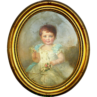 19th Century Oil on Canvas Seated Portrait of Toddler Girl in White Dress Blue Bows Nose Gay Heavy Gilded Oval Frame