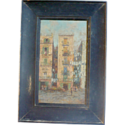 "Old 12.5"" x 8.75""  Oil on Board Tenement Street Scene with Hanging Wash Original Black Painted Wood Frame"
