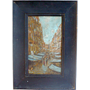 "Old Oil on Board 11.5"" x 8.25"" Black Painted Wood Framed Painting of French Market Street View Blue Stall Awnings and Shoppers"