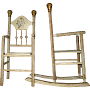 Old 15.75 Inch Ivory and Gold Painted Turned Wood Doll Rocker and Chair with Cherubs on Backs