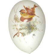 5.25 Inch Blown Glass Victorian Whimsy Easter Egg Satin White with Painted Bird on 1 Side