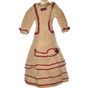 Hand Stitched 19th Century Tan & Cranberry Linen French Fashion Dress Silk Ribbon Trim and Back Bow Fabric Splits