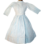 13 Inch 19th Century Pale Blue Woven Stripe Linen Hand Stitched Dress for China Papier-Mache or Bisque Head Doll