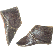 1850=60's Size 5 Glazed Leather Flat Sole Low Tie  Boots 3.5 Inches for Greiner or China Doll