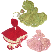 3 1930's Crochet Costume for Mignonettes & Other Little Dolls