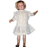 "Ivory Lawn Drop Waist Edwardian Doll Dress Pleated Skirt White Work Pinafore Top for 16"" Schoenhut or German Character Doll"