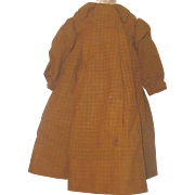 13 Inch Antique Hand Stitched Rust Wool Smock School Dress for French or German Bisque Head Doll