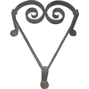 9 Inch 19th Century Smith Wrought Heart Shape Trivet or Hearth Pot Stand