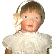 18 Inch 1920's Louise Kampes Painted Face Kamkins Art Doll Original Wig Face Paint Play Dress