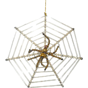 Huge 1910 Czech Satin & Gold Bead Cobweb and Spider Christmas Ornament