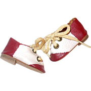 1940's Red and Ivory Oil Cloth Mary Hoyer Saddle Shoes