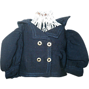 19th Century Tailored Navy Gabardine or Fine Wool Sailor Jacket for Small Doll