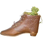 3.5 Inch 19th Century Faux Leather Dresden Cardboard High Top Shoe with Heel Candy Container Christmas Ornament