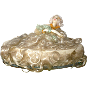 """8"""" Oval Candy Box with Seductive Reclining Wax Lady On Lid"""