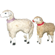 2 Old German Christmas Woolly Sheep with Collars Stick Legs