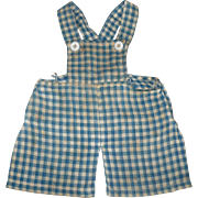 Old Blue Check Homespun Overalls Cloth Doll or Old Bear