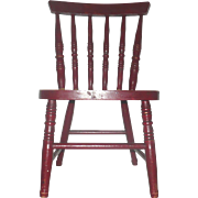 "Old 18"" Red Painted Toy Rod Back Chair with Gold Stencil Advertising"