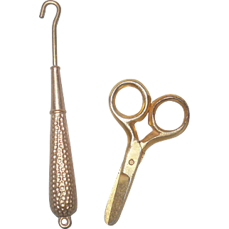 Tiny Metal Gold Tone Button Hook and Scissors  for a French Fashion or Small Bebe