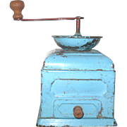 Old Toy or Miniature Metal Coffee Grinder Robins Egg Blue Paint