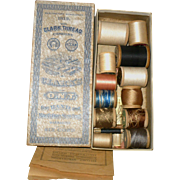 Old Clark Thread Box and 12 Wood Spools of Thread