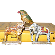 Tiny Folk Art Carved and Painted Wood Tiger Elephant and Parrot